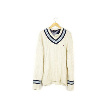 TOMMY HILFIGER wool blend cable knit tennis sweater / cream ivory white / prep preppy / super soft cozy / pullover / v-neck / mens l - xl