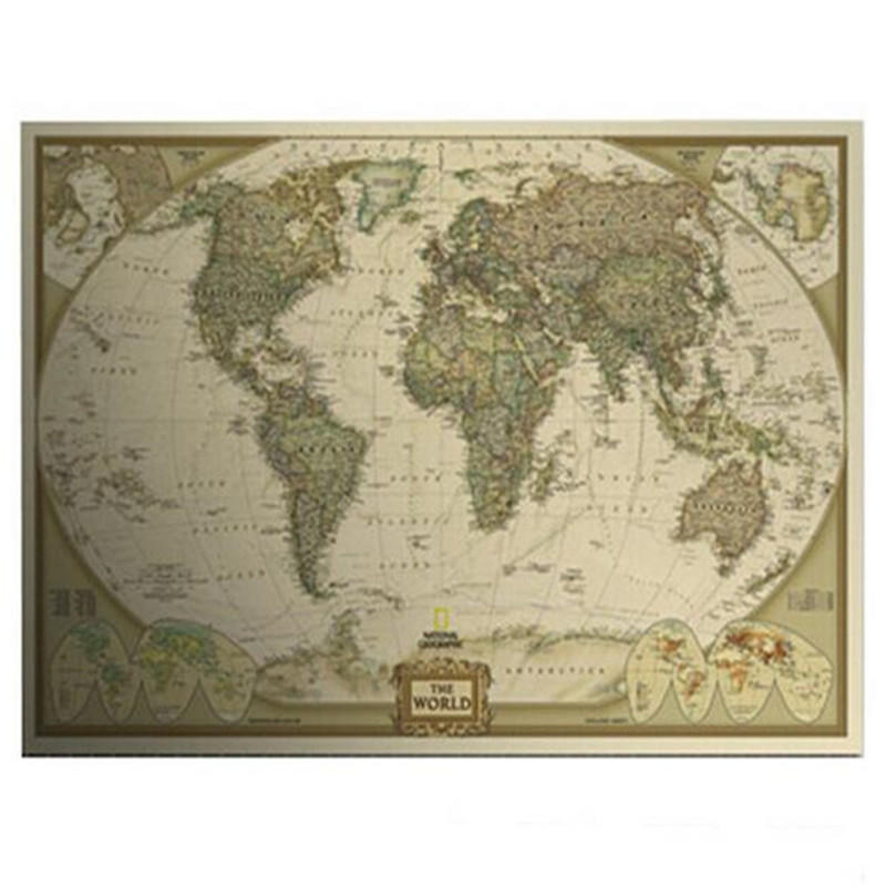 Vintage style world map home decoration from lions share deals vintage style world map home decoration detailed antique poster matte kraft paper 72x4 gumiabroncs Image collections