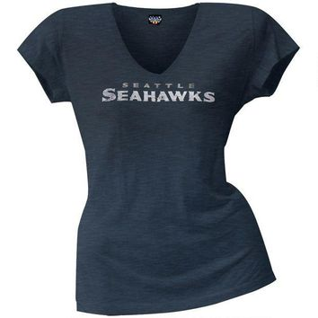 PEAPGQ9 Seattle Seahawks - Scrum Logo Juniors Premium V-Neck T-Shirt