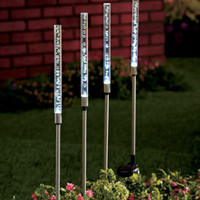 White Solar Tube Stake Lights Set of 4 Outdoor Path Lighting Yard Home Decor