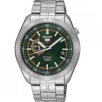 Seiko 5 Sports Green Dial Stainless Steel Mens Watch SSA063