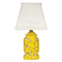 Small Yellow Floral Porcelain Accent Lamp