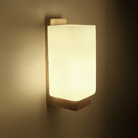 Wall Lamp Night Light Wood+Glass E27 Socket For Bedroom Foyer Living Room Cafe Bar Restaurant Home Dining Room