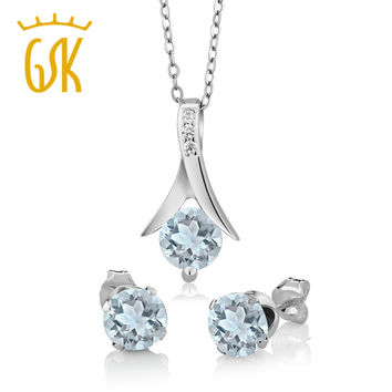 GemStoneKing  Solid 925 Sterling Silver Jewelry Set 2.25 Ct Round Natural Aquamarine Women's Pendant and Earrings Set