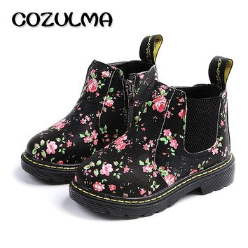 COZULMA Kids Ankle Boots Girls Boys Floral Flower Print Chelsea Boots Girls Autumn Martin Boots Children Winter Shoes size 21-36 1