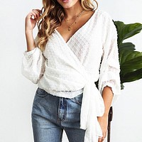 Vintage Pleated Chiffon Blouse Tops Female Lace up Polka Dot Ladis Tops Sheer Long Sleeve Wrap Blouse