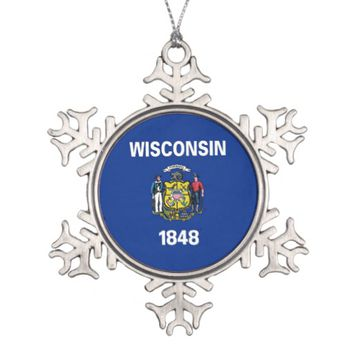 Snowflake Ornament with Wisconsin Flag