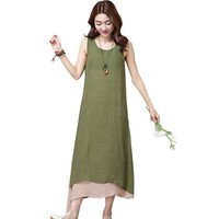 Dress Women Casual Loose Sleeveless Boho Cotton Linen Long Maxi