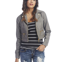 Gold Zippers Faux Leather Jacket   Wet Seal