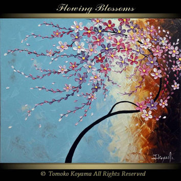 "Original Impasto Acrylic Modern Abstract Art  Painting on  Gallery wrapped Canvas 30"" x 24"", Home Decor, -Flowing Blossoms- by Tomoko Koyama"