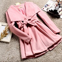 Women Outerwear Pink Noble Sweet Princess Trenchcoat Charm Belt Lapel Coat
