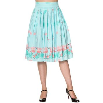 60's Retro Tropical Pink Flamingos Pleated A-Line Light Blue Midi skirt