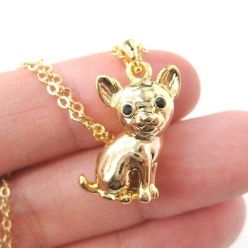 Adorable Chihuahua Puppy Dog Shaped Animal Pendant Necklace in Gold