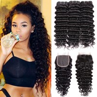 BEAUDIVA Brazilian Hair Weave Deep Wave 2 or 3 Bundles With Closure 100% Human Hair Bundles With Closure Remy  Hair Extensions