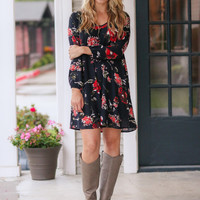 Alyssa Floral Dress - Black