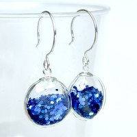 Royal blue flat round blown glass sterling silver by thestudio8