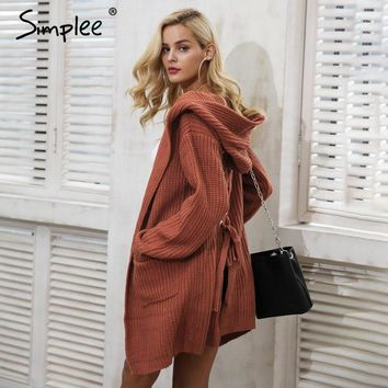 Simplee Hooded knitting long cardigan sweater Women jumper back lace up sweater Female coat 2018 warm knitted pocket outerwear