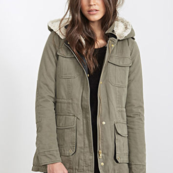 FOREVER 21 Faux Shearling Utility Jacket Olive/Cream