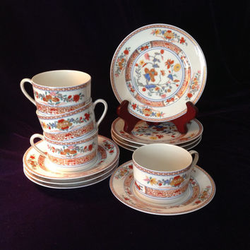 Vintage Limoges - Elegant Bernardaud Pondichery Set of 4 tea cups & plates - Wedding/Engagement/Shower/Mother's Day/Housewarming Gift