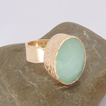 Handmade Ring - Aqua Chalcedony Ring - 18K Rose Gold Ring - Bezel Gemstone Ring - Large Oval Ring - Statement Ring - Christmas Gift For Wife