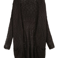 LE3NO Womens Classic Soft Knit Long Sleeve  Maxi Cardigan with Pockets