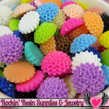 Chrysanthemum Resin Mum Flower Cabochons Earring Pairs or Mixed Colors  15mm