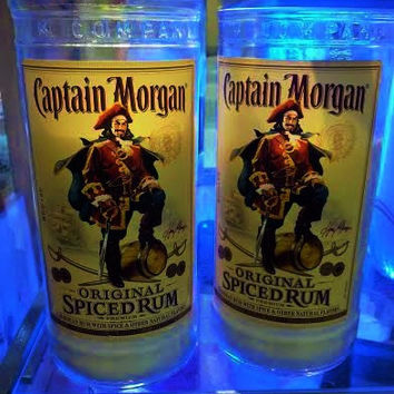 NEW- Captain Morgan's Spiced Rum Bottle Soy Candle Gift Bundle- Set of 2