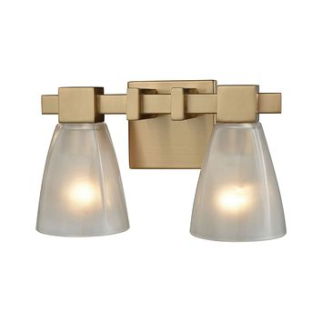 Ensley 2-Light Vanity Lamp in Satin Brass with Square-to-Round Frosted Glass