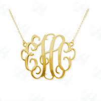 SCHOOL SALE CUSTOM Silver or Gold Monogram Necklace Bridesmaid gift
