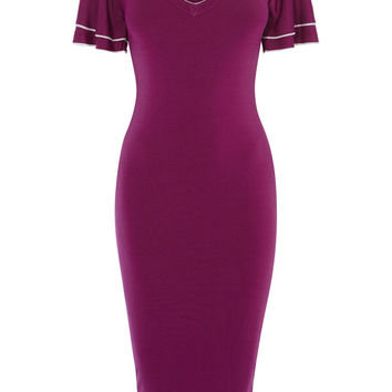KNITTED MIDI DRESS - MAGENTA