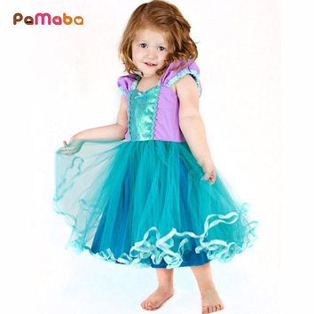 PaMaBa Baby Girl Princess Rapunzel Mermaid Aurora Cinderella Dresses Party Ball Gown Kids Birthday Party Robes Festival Vestidos