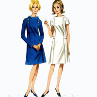 1960s MOD A-line Day DRESS Stand-Away Portrait Collar, Long or Short Sleeves, Button Accents Butterick 5696 Bust 32 Vintage Sewing Patterns