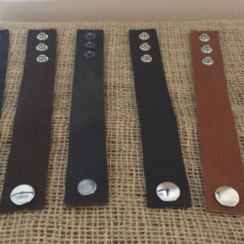 "Leather Bracelet 1"" Simple Plain or With a Natural Stone Genuine Leather MADE IN USA"