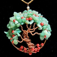 Apple Tree of Life Necklace with Green Aventurine Gemstone Chips