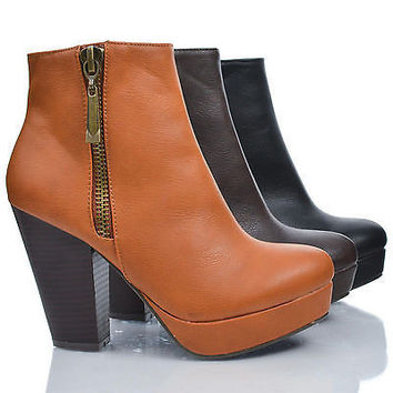 Huxley06 Brown by Bamboo, Almond Toe Zip Up Platform Thick Stacked High Heel Ankle Booties