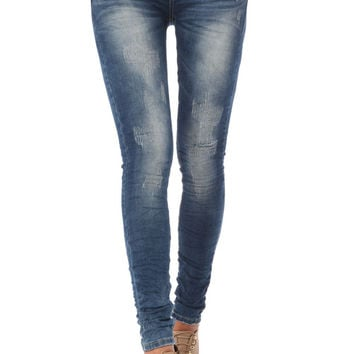 Q2 Skinny Jeans With Distressed Finish