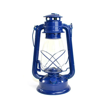 Cobalt Blue Kerosene Lantern - New Old Stock, Lightweight Aluminum, Glass Globe - Barn, Farm, or Camping Style - Vintage Home Decor
