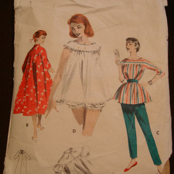1950s Lolita Shortie Nightgown Pattern Butterick 7559 Sz14 Bust 32 Brunch Coat Lounging Outfit