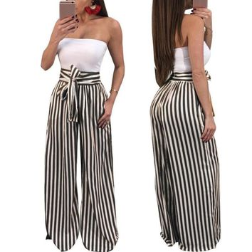 Sexy Loose Pants Outdoor Stripe Casual Pants