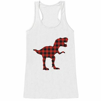7 ate 9 Apparel Women's Plaid Dinosaur Tank Top
