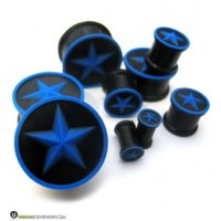 "Blue Nautical Star Silicone Plugs (2 Gauge - 7/8"") 