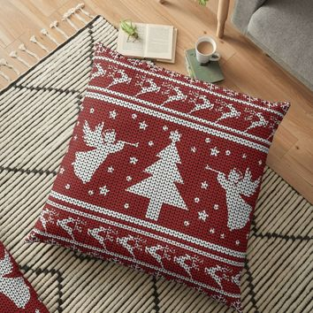 'Ugly Christmas Sweater' Floor Pillow by ValentinaHramov