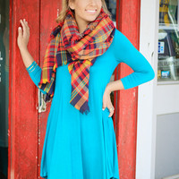 Never Let Go Teal V-Neck Quarter Sleeve Tunic Casual Dress