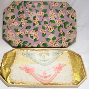 Pastel Embroidered Hankies, Original Box and Labels,  Bridal Something Old Item, Authentic Mid Century Floral Handkerchief 317f