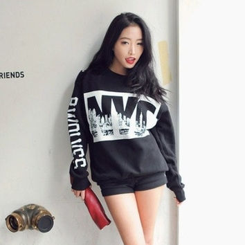 Fashion Sweatshirt Women Hip-hop Hoody New 2014 Sport Suit Womens sweaters Hoodies Track Suits One Size (Color: Black)