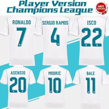 2018 Player Version Champions League Real Madrid home white Soccer Jersey 17/18 RONALD