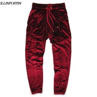 Streetwear Men Velour Jogger Pants Street Dance Velvet Pants Elastic Waist Sweatpants New 2017 Wine Red / Black / Deep Grey
