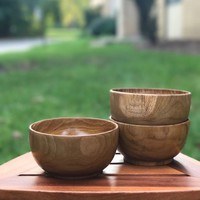 Ala Teak Wood Unbreakable Kitchen Soup Salad Cup Bowl Plate Set of 2