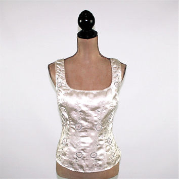 Sleeveless White Satin Top Dressy Beaded Embroidered Cocktail Top Silver Off White Scoop Neck Size 10 Top Vintage Clothing Womens Clothing