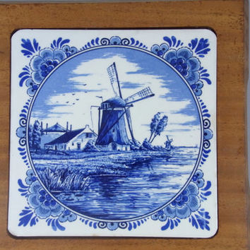 Delft Tile Trivet Hot Pad Vintage Teak Framed Delft Tile Trivet Vintage Blue and White Kitchen Decor